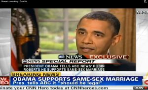 Obama on Cnn approving of same sex marriage